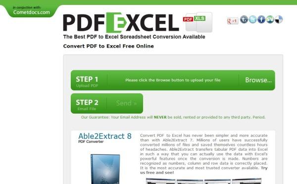 Convertidor de archivos pdf a excel online