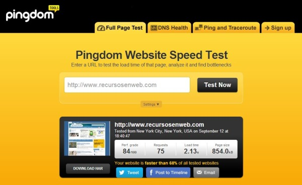 Pingdom Website Speed Test velocidad carga web