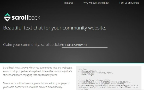 Scrollback chat blog pagina